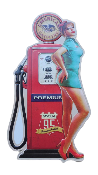 Embossed Tin Sign - Gas Pump Blonde