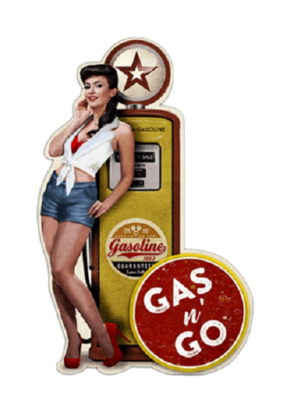 Embossed Tin Sign - Gas Pump Brunette