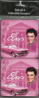 Elvis Coaster Set - Pink Cadillac