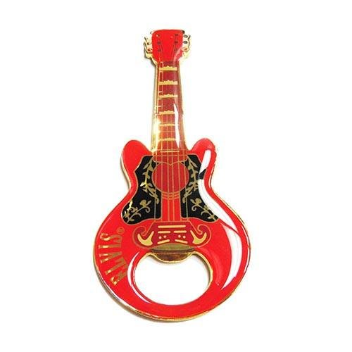 Elvis Bottle Opener - Guitar Shaped Magnetic - Red