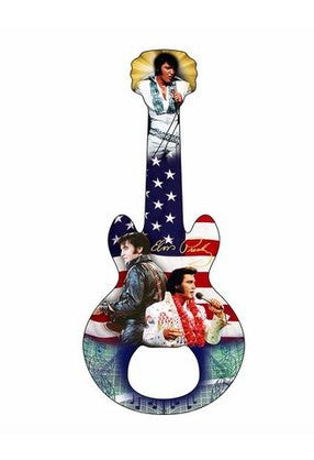 Elvis Bottle Opener - Guitar Shaped Magnetic - Flag Collage