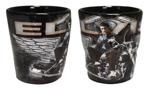 Elvis Embossed Shot Glass Motorcycle with Wings