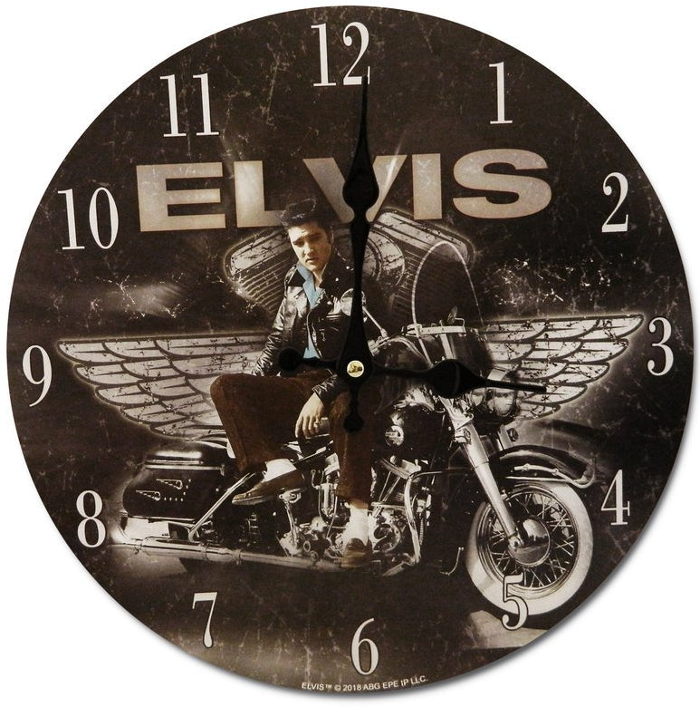 Elvis Presley Clock - Motorcycle with wings