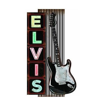 Elvis Tin Sign - Corrugated with Guitar