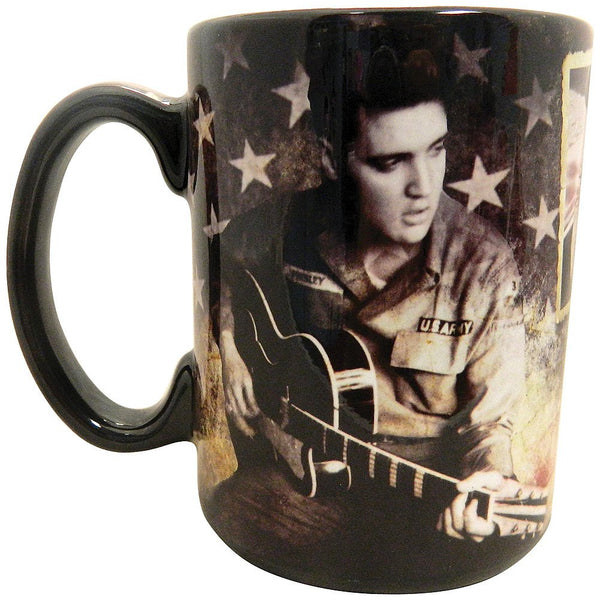 Elvis Coffee Mug - Army/ Flag