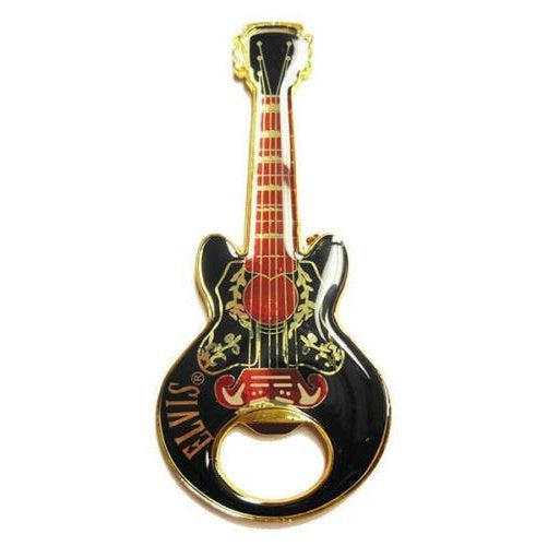 Elvis Bottle Opener - Guitar Shaped Magnetic - Black