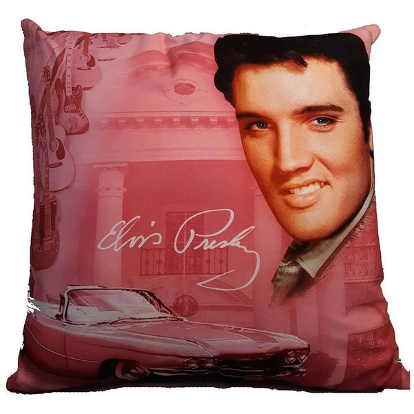 Elvis Presley Cushion - Pink Cadillac with Guitars