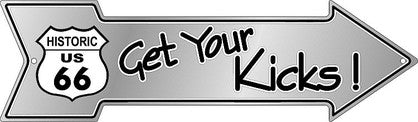 Get Your Kicks 66 Embossed Tin Sign