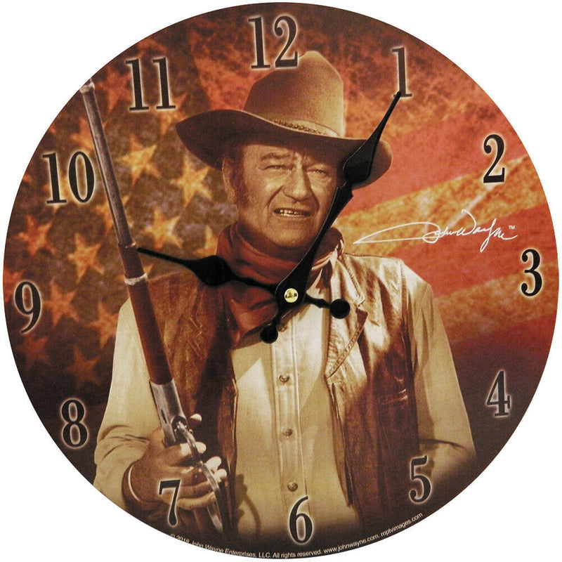 John Wayne Clock - With American Flag