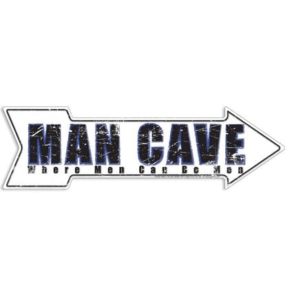 MAN CAVE ARROW Embossed Tin Sign