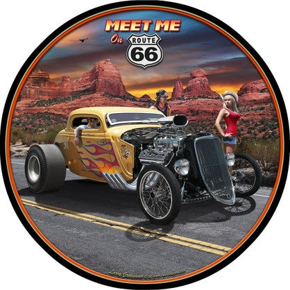 ROUTE 66 MEET ME Embossed Tin Sign