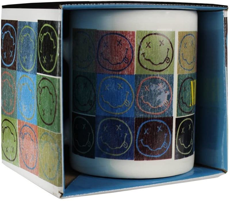 Nirvana Mug - Distressed Smiley Blocks
