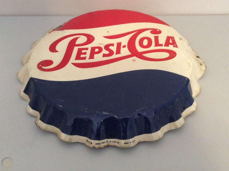 PEPSI Cola Embossed Beer Bottle Cap Tin Sign