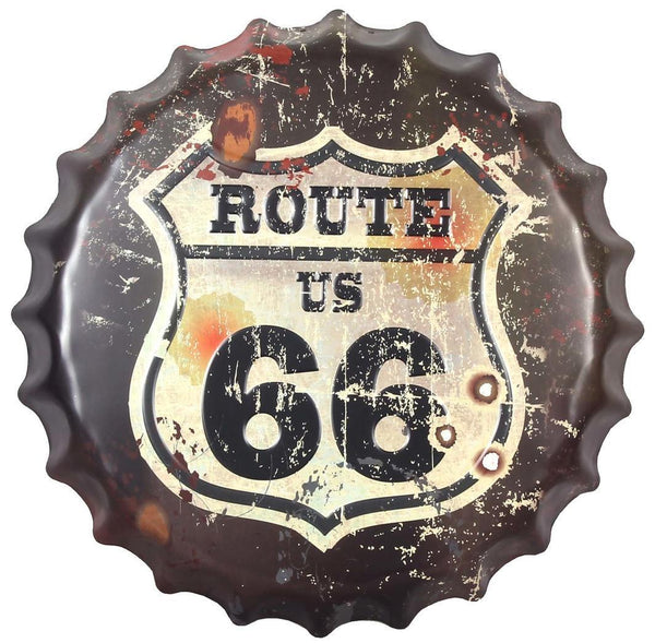 Route 66 Embossed Beer Bottle Cap Tin Sign