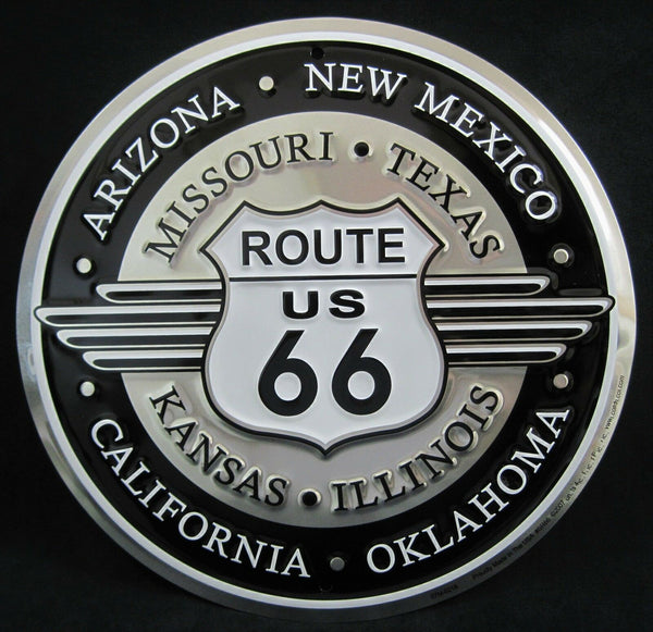 ROUTE 66 DECO Embossed Tin Sign