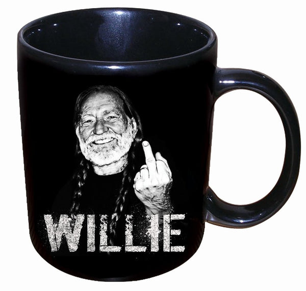 "Willie Nelson 12oz Mug - ""Middle Finger"""