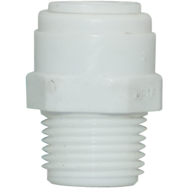 "Straight Male Adapter - 0.5"" Tubing Quick-Connect x 0.5"" MPT - Acetal - Spectrapure"