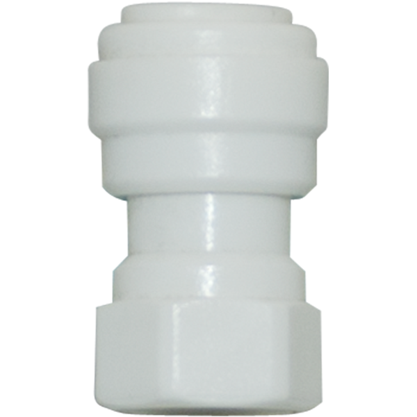 "Straight Female Adapter - 1/4"" Tubing Quick-Connect x 1/8"" FPT - Acetal - Spectrapure"