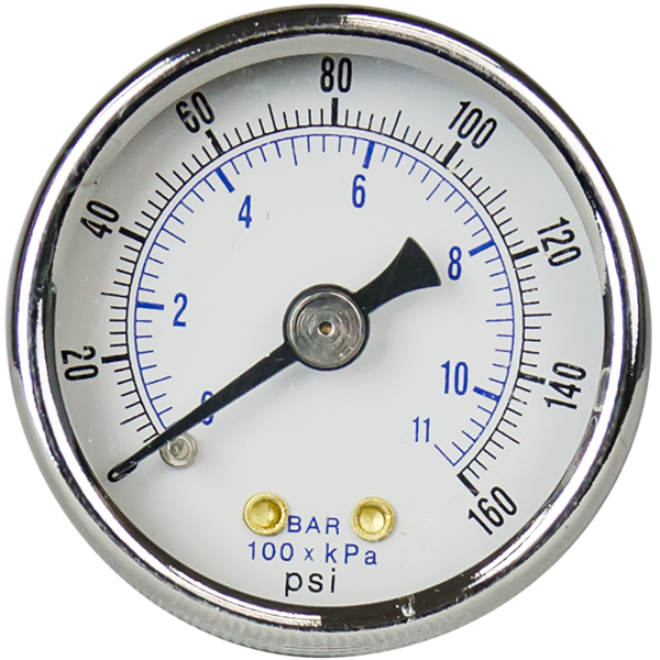 "Pressure Gauge 1.5"" - 0-160 psi with 1/8"" MPT Back Port - Spectrapure"