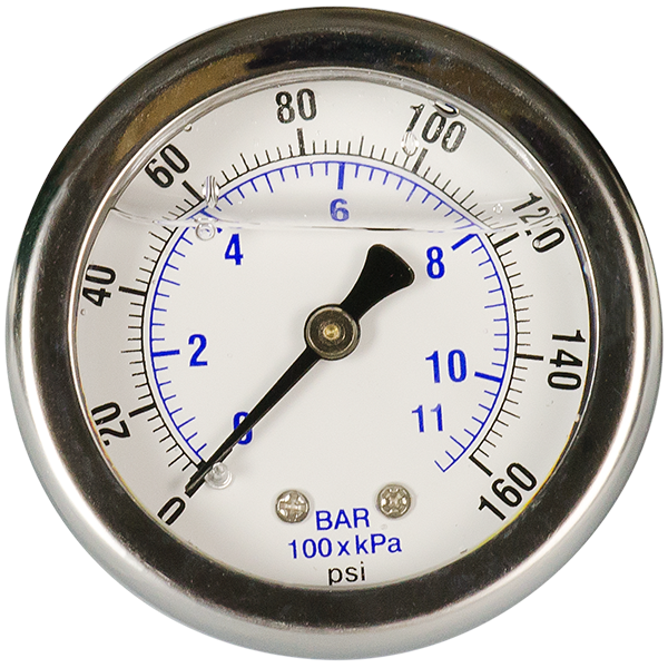 "Pressure Gauge - 2"" - 0-160 psi with 1/8"" MPT Back Port - Spectrapure"