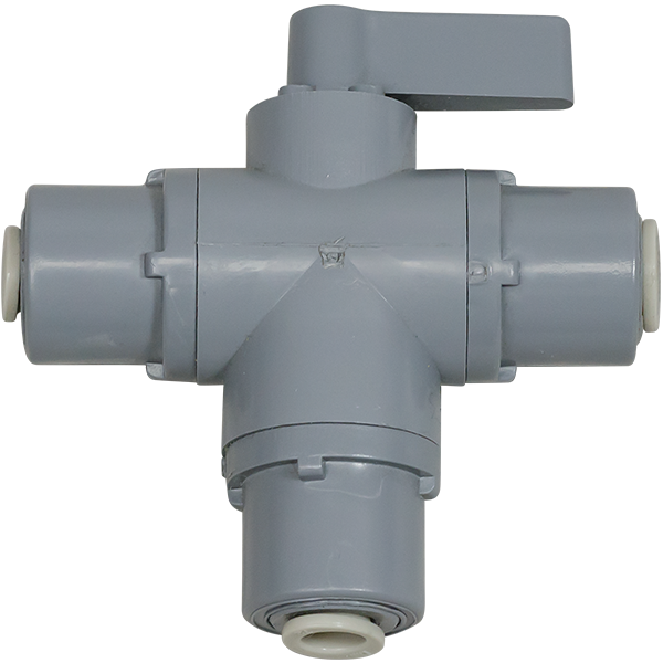 3 Way PVC Ball Valve 0.25 inch Quick-Connect Fittings - Spectrapure