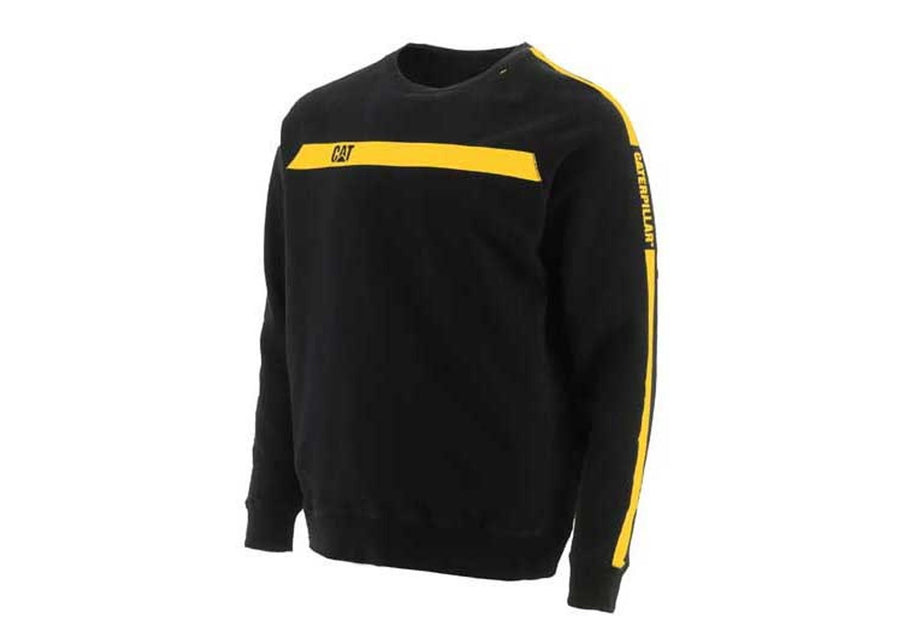 Caterpillar Mens Icon Stripe Crew Sweatshirt
