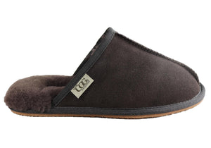 Grosby Buck Ugg Mens Comfort Sheepskin Scuff Slip On Slippers