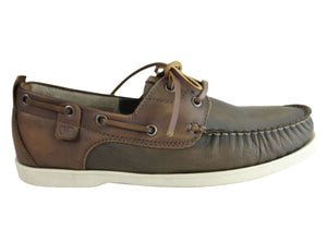 Democrata Becker Mens Leather Comfortable Boat Shoes Made In Brazil