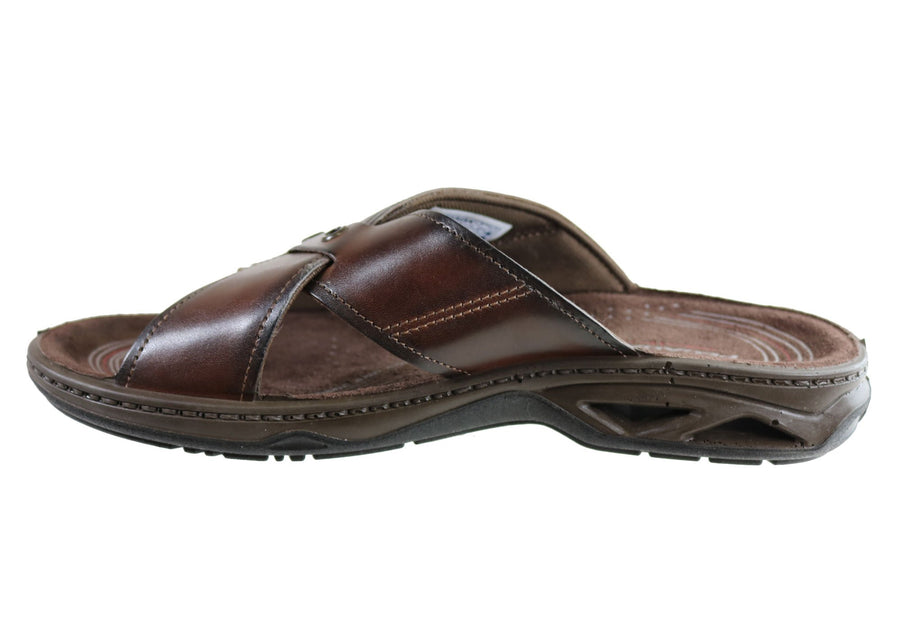 Pegada Jefferson Mens Leather Comfortable Slide Sandals Made In Brazil