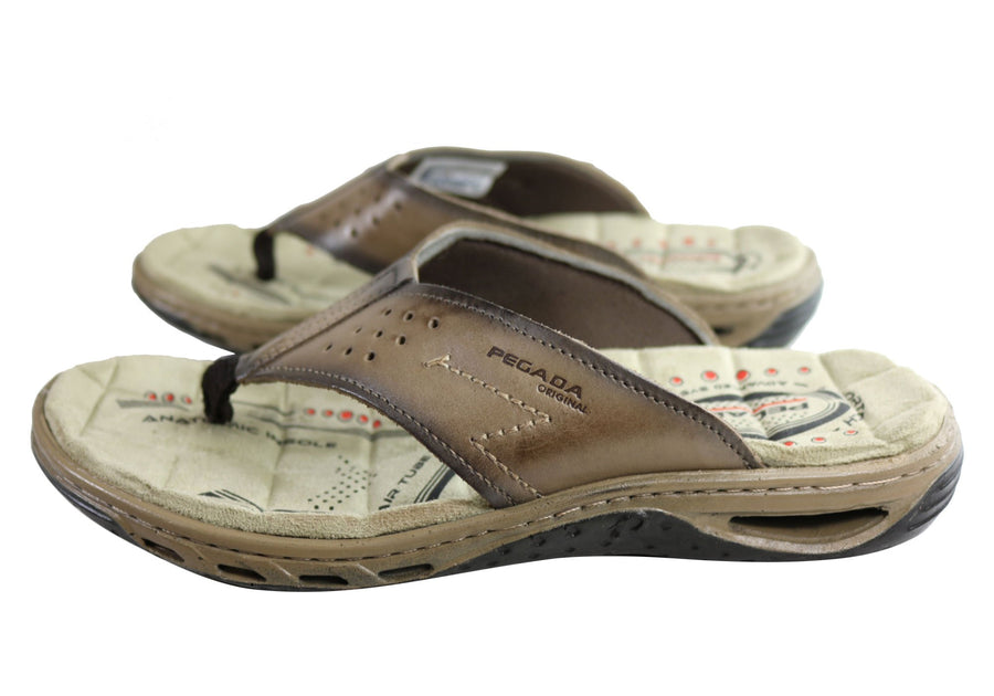 Pegada Phillip Mens Leather Cushioned Thongs Sandals Made In Brazil