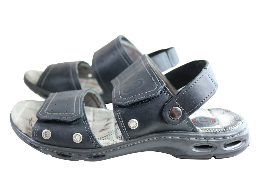 Pegada Jensen Mens Leather Comfort Cushioned Sandals Made In Brazil