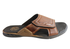 Pegada Steven Mens Cushioned Comfort Slide Sandals Made In Brazil