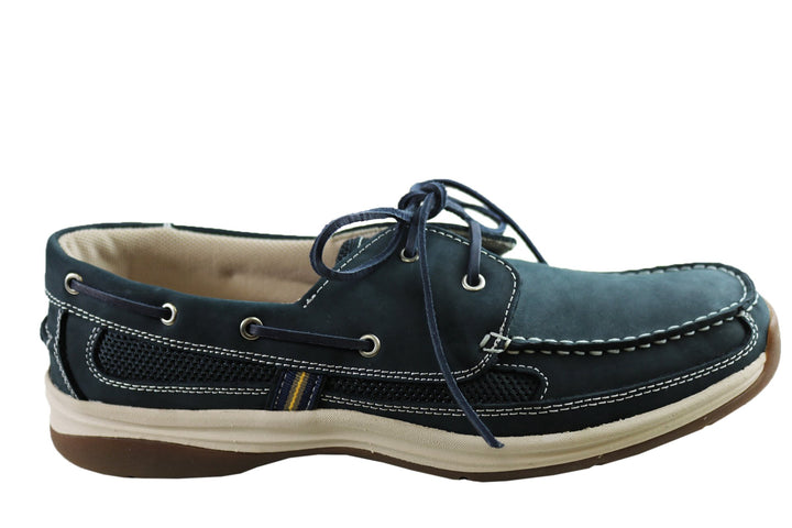 Slatters Shackle Mens Comfortable Leather Boat Shoes
