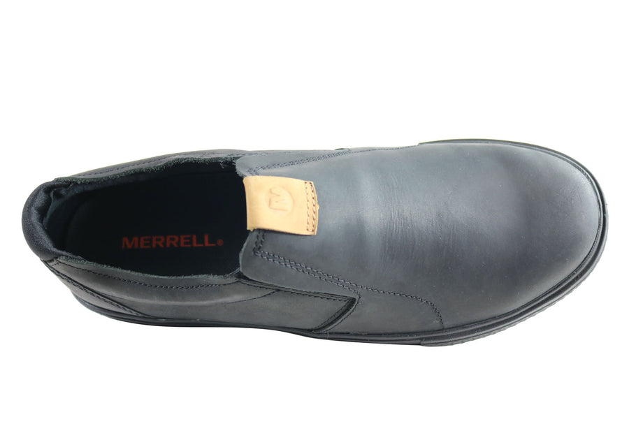 Merrell Barkley Moc Mens Comfortable Slip On Leather Casual Shoes