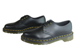 Dr Martens Vegan 1461 3 Eye Black Lace Up Comfortable Unisex Shoes