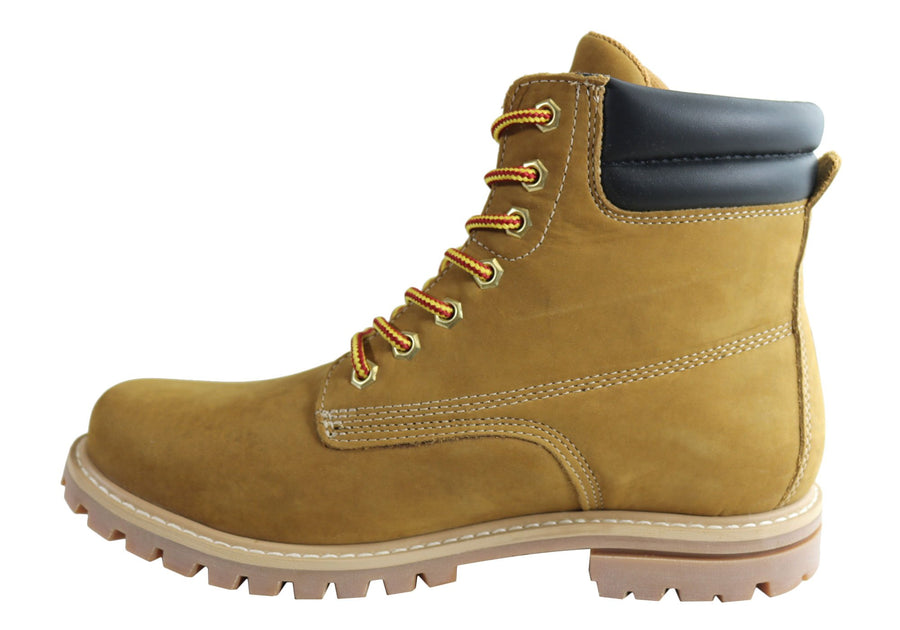 Bradok Bucks M Mens Comfortable Lace Up Leather Boots Made In Brazil