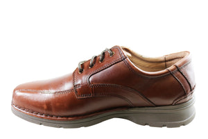 Slatters Lithgow Mens Leather Extra Wide Fit Comfortable Lace Up Shoes
