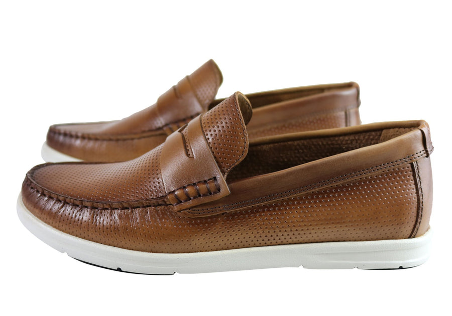 Savelli Nimble Mens Comfortable Cushioned Leather Casual Loafer Shoes