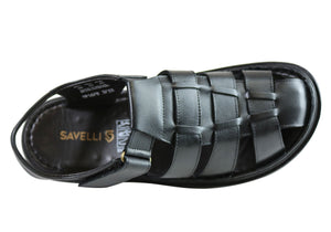 Savelli Christopher Mens Leather Closed Toe Sandals Made In Brazil