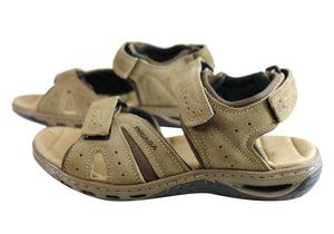 Pegada Jarrod Mens Leather Comfort Cushioned Sandals Made In Brazil