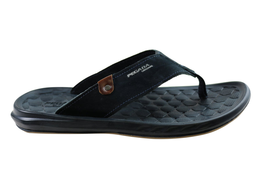 Pegada York Mens Leather Comfortable Thongs Sandals Made In Brazil
