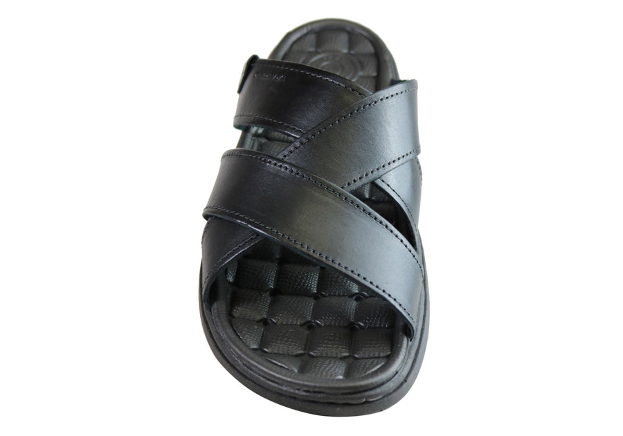 Pegada Belmain Mens Leather Cushioned Slide Sandals Made In Brazil