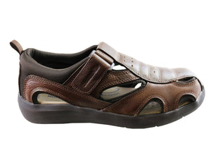 Homyped Smithy Mens Leather Supportive Extra Extra Wide Sandals
