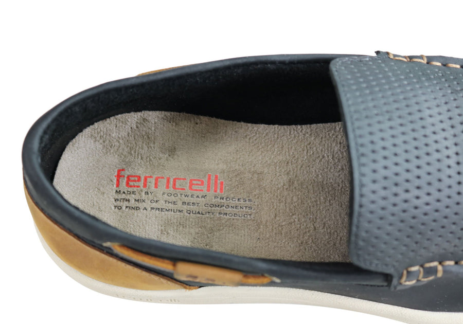Ferricelli Archer Mens Comfort Cushioned Leather Casual Loafer Shoes