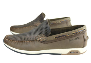 Ferricelli Frank Mens Leather Comfy Casual Loafer Shoes Made In Brazil