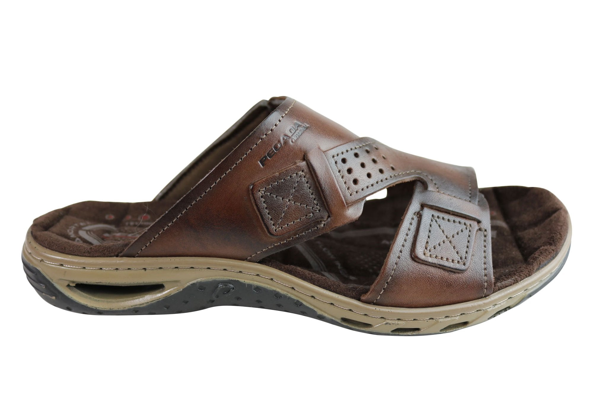 6cb6a521c9fe Pegada Andy Mens Leather Comfy Cushioned Slide Sandals Made In Brazil
