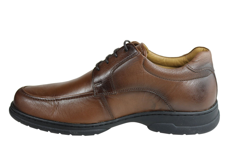 Ferricelli Vincent Mens Leather Gel Flex Comfort Shoes Made In Brazil
