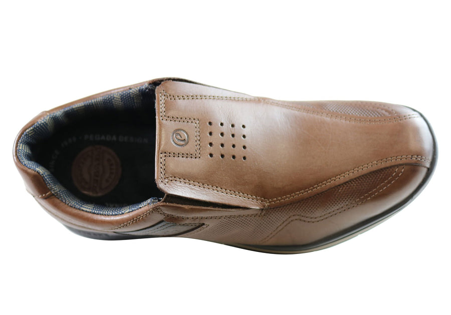 Pegada Jarrod Mens Leather Slip On Comfort Casual Shoes Made In Brazil
