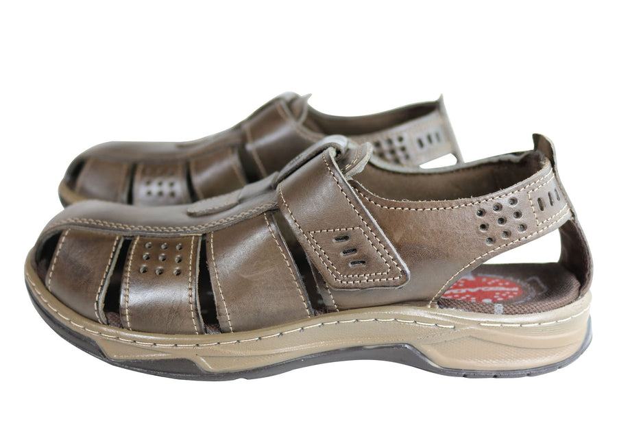 Pegada Kent Mens Leather Comfortable Cushioned Sandals Made In Brazil