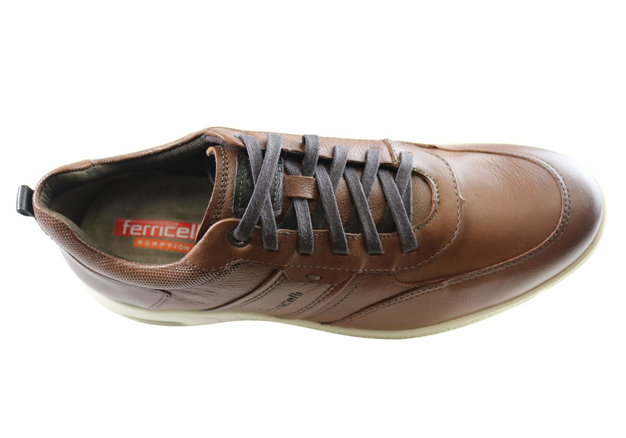 Ferricelli Shawn Mens Leather Lace Up Casual Shoes Made In Brazil